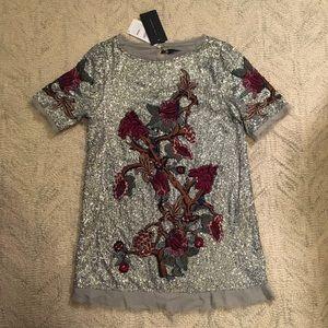 NWT Zara Sequin Embroidered Mini Dress Medium